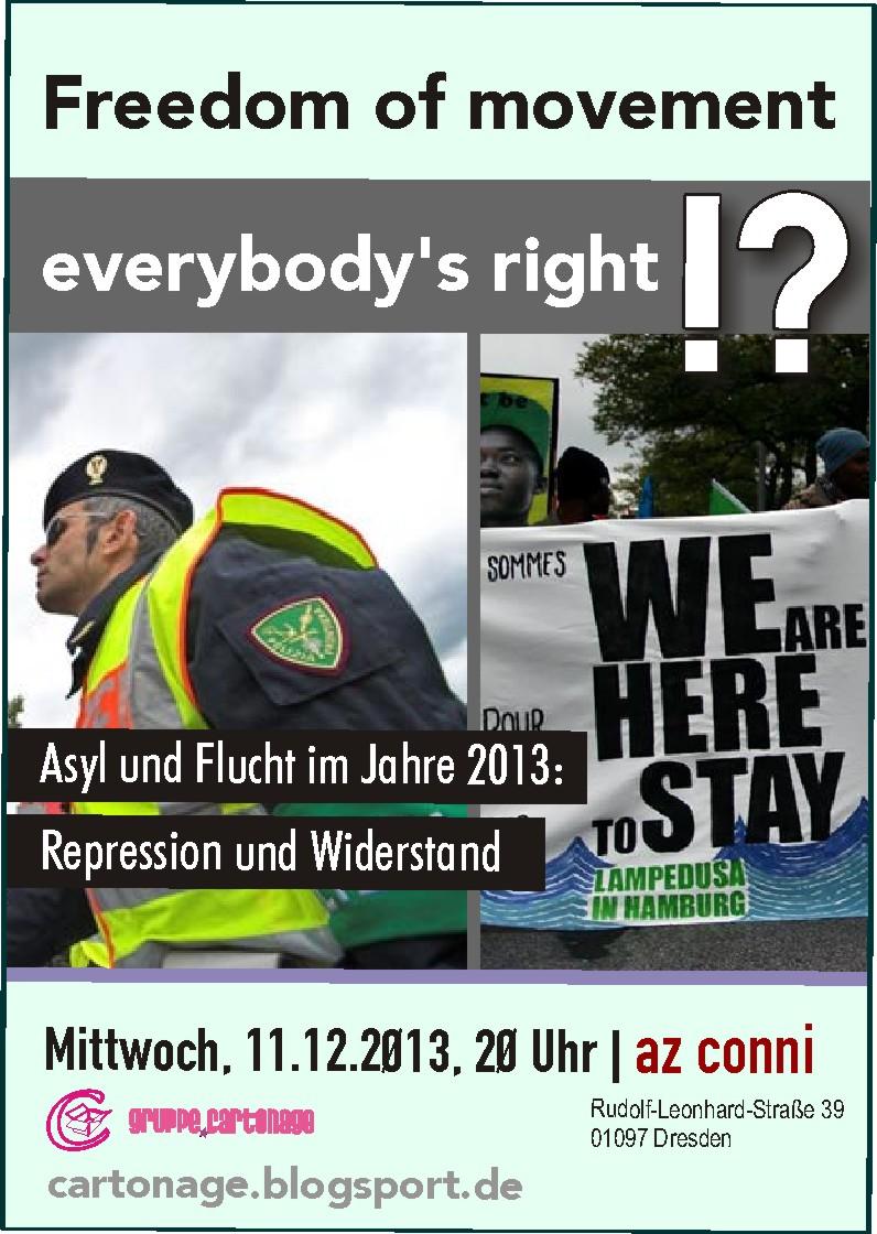 Veranstaltungsflyer Flucht und Asyl 2013 am 11. Dezember 2013 im AZ Conni