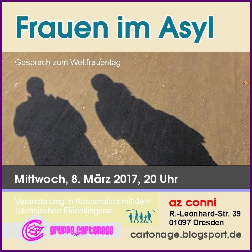 Flyer Ankündigung küfa.cartonage am 8.3.2017 zum Thema Frauen und Asyl