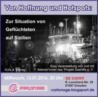 Flyer zur Januaer-küfa.cartonage zur Situation von Geflüchteten auf Sizilien